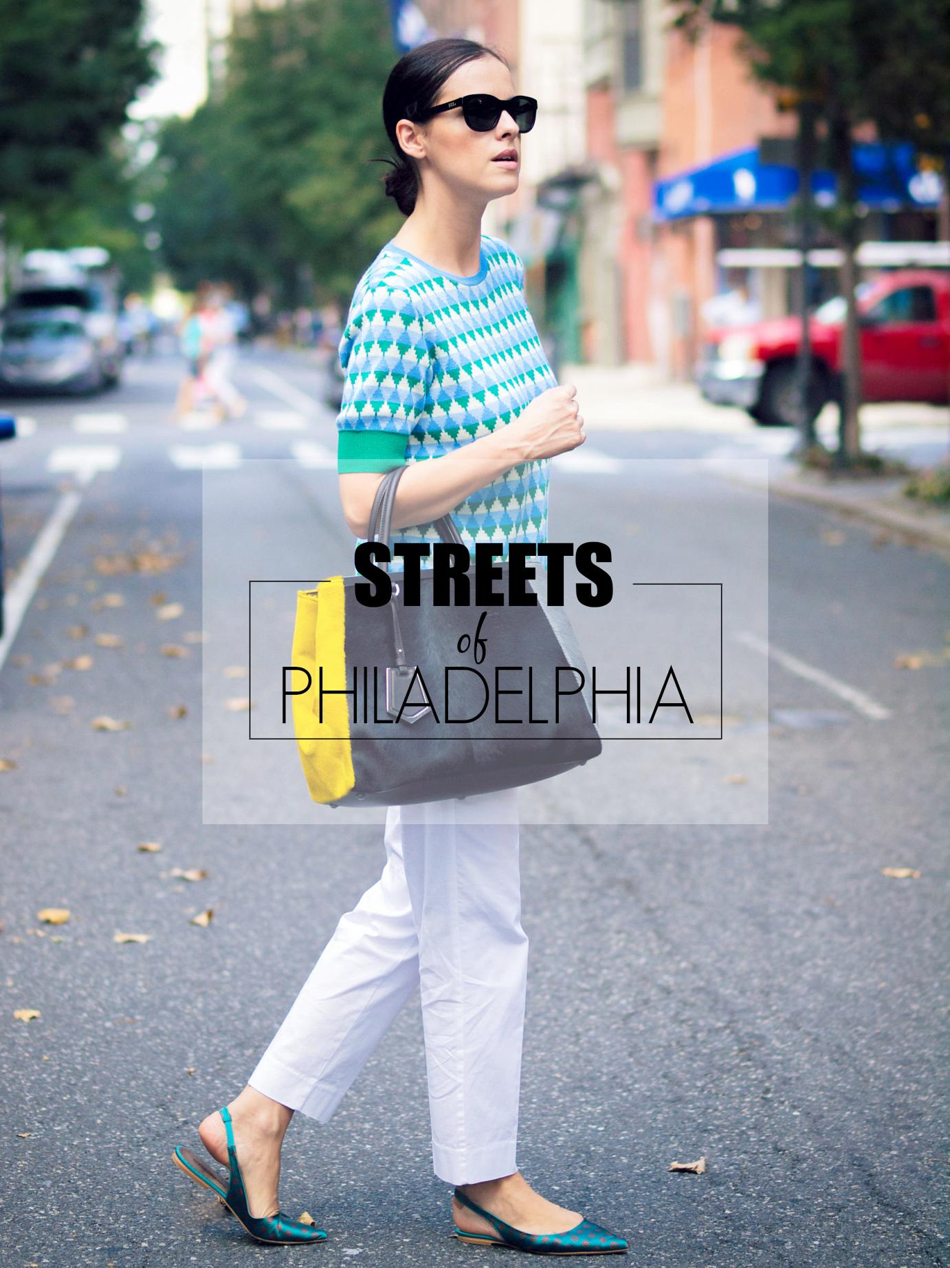 bittersweet colours, Philadelphia, street style, sweater weather, geometric print sweater, joe fresh, 2jours bicolor fendi bag, fendi bag, j.crew pants, white pants, anna baiguera shoes, printed shoes,