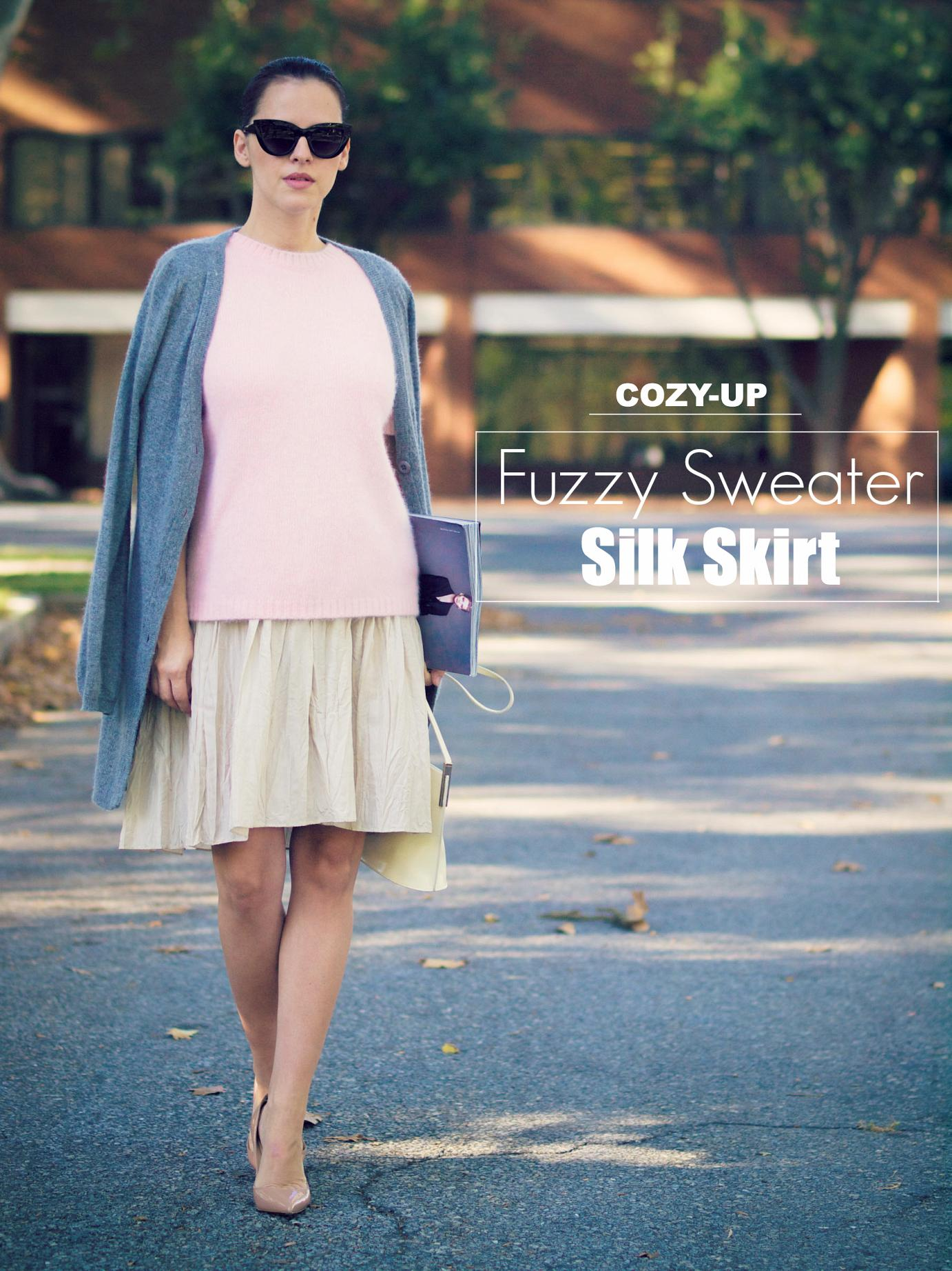 bittersweet colours, street style, fall trends, fuzzy sweater, silk skirt, christian louboutin shoes, furla bag, bcbg max azria, cardigan, pink sweater, asos sunglasses, fall mix, pastel colors, pleated skirt,