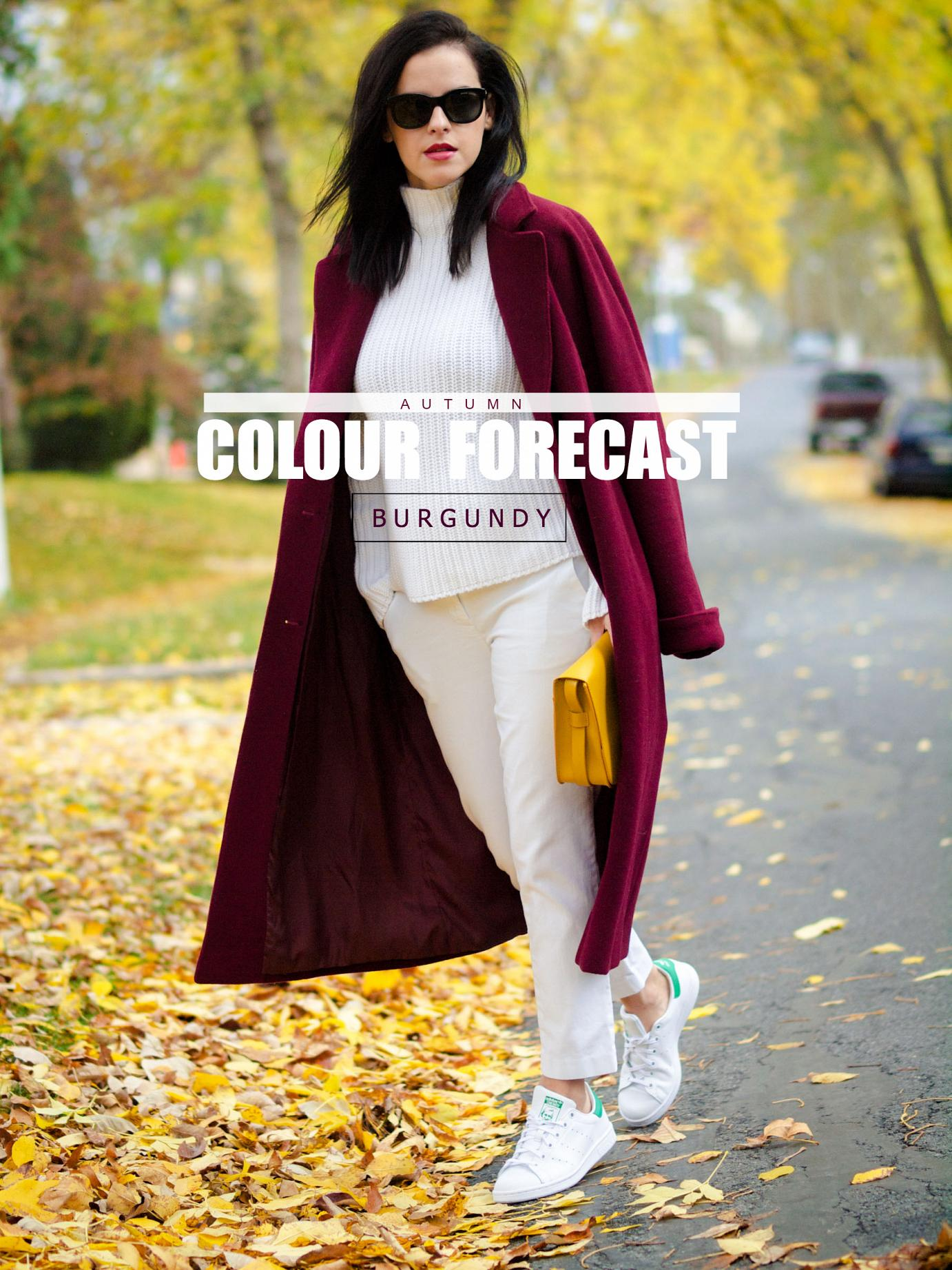 bittersweet colours, fall colors, fall coats, fall trends, burgundy coat, burgundy trend, street style, maternity style, 18 weeks, white on white trend, Tommy Hilfiger, adidas, stan smith adidas, white sneakers, sneakers trend, red lips